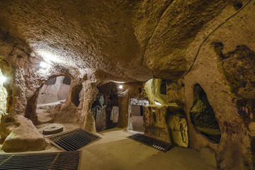 The Derinkuyu underground city is an ancient multi-level cave city in Cappadocia, Turkey.