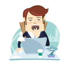 Vector illustration Funny business man yawning at his workplace. Flat style