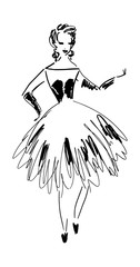 Fashion model. Pretty girl silhouette in stylish cocktail dress for advertising, shop, showcase, design, covers, prints, posters, cards. Hand drawn sketch, curly lines. Black and white colors.