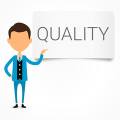 quality pannel with businessman in presentation