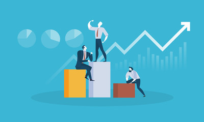 Team leader. Flat design business people concept for business success, business leader, reaching the goal. Vector illustration concept for web banner, business presentation, advertising material.