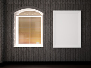 window and a picture on the wall, 3d