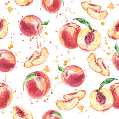 Seamless fruit pattern with Peach, Watercolor painting