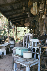 Vintage items left at old abandoned farmhouse