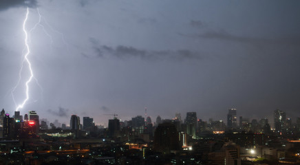 Lightning in night Bangkok.
