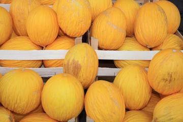 Frische Honigmelonen auf einem Markt in Catania. Italien