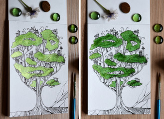 Two views with different lighting of illustration of fairy tree - town. Fantasy drawing of houses on branches. Creative still life.