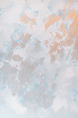 free space, design, abstract concept. background in light pastel shades with abstract painting, there are brushstrokes of different color on the textured surface