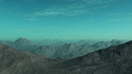 3d generated landscape of lonely desert mountains