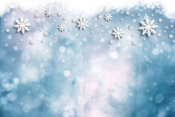 Winter abstract snowflake decoration illustration copy space background.