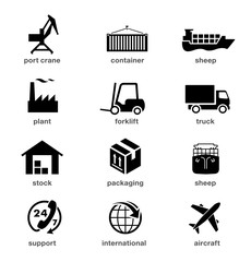 Set of logistics icons. Vector elements.  It can be used in the design for websites, infographic, catalogs, brochures, etc.