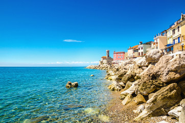 View on the Piran Coast, Gulf of Piran on the Adriatic Sea, Slovenia