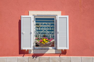 Window with white shutters and beautiful blooming flowers against a red wall