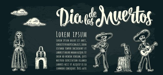 Horizontal poster for Day of the Dead. Dia de los Muertos lettering.