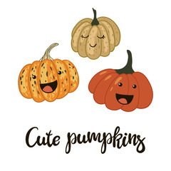 Cute cartoon pumpkins and hand written inscription. Vector illustration.