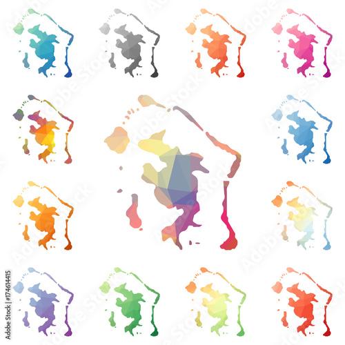 Bora Bora Geometric Polygonal Mosaic Style Island Maps