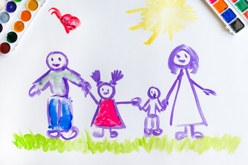 Child's hand paints sketch of the family