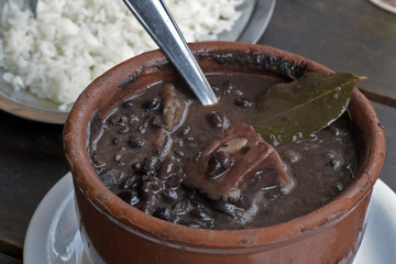 Trough made of clay with feijoada