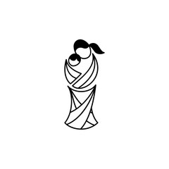 Vector symbol of motherhood. Illustration of mother with her baby in sling