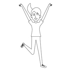 cheerful jumping woman avatar