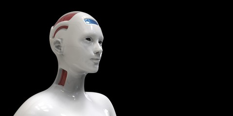 Extremely detailed and realistic high resolution 3d illustration of a humanoid android
