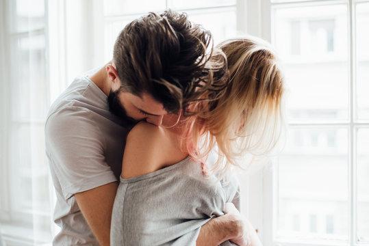 Bearded Man Hugging His Girlfriend
