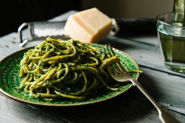 Spaghetti with watercress pesto.