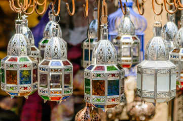 Handmade metal and glass lanterns for sale in the Souks, Marrakech, Morocco