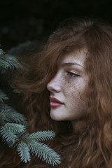 Portrait of a beautiful redhead with freckles