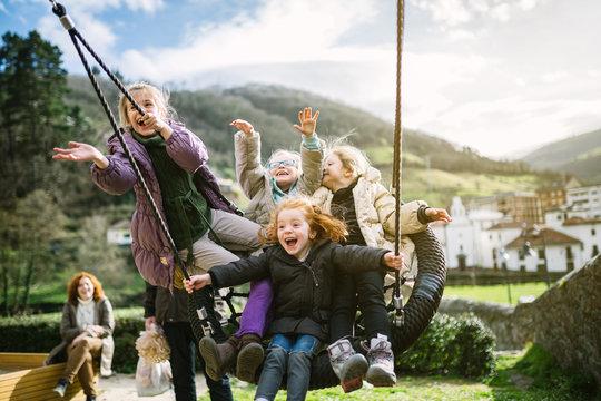 Girls Having Fun at the Playground