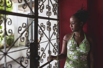 Brazil. Woman walking in the city.