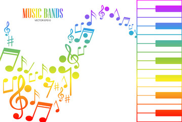 Music Keyboard with Colorful Keys and Notes.vector