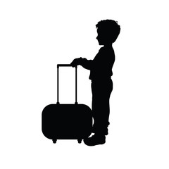 child boy silhouette with travel bag illustration