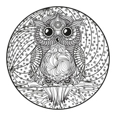 Mandala with cat. Zentangle. Hand drawn cat with abstract patterns on isolation background. Design for spiritual relaxation for adults. Black and white illustration for coloring. Outline for t-shirts