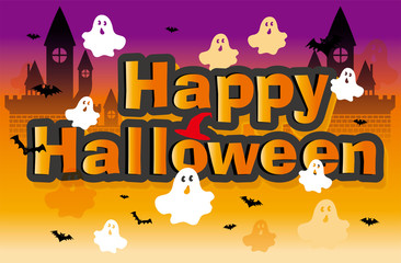 Happy Halloween|ハロウィン用イラスト|ハロウィンロゴ コウモリ・幽霊|Illustration for Halloween