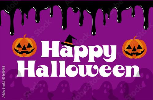 happy halloween ハロウィン用イラスト ハロウィンロゴ コウモリ 幽霊