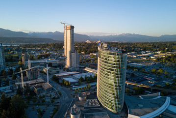 Surrey City Centre, Greater Vancouver, British Columbia, Canada. Taken from an aerial perspective during sunset.