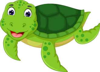 funny turtle cartoon swimming with happines