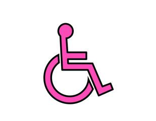 車椅子マーク(線画、ピンク)