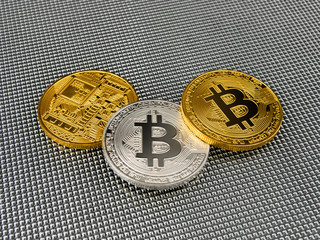 Golden and silver bitcoin on abstract background. Bitcoin cryptocurrency.