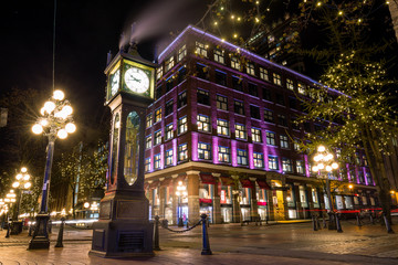 Steam Clock in Gastown, Downtown Vancouver, British Columbia, Canada. Wall mural