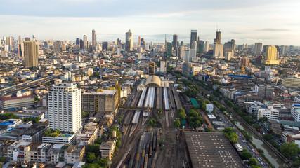 Aerial view. Trains platform of railway station Hua Lamphong,Bangkok,Thailand