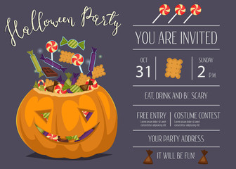 Vintage Halloween party invitation with scary pumpkin head jack full of sweet candies, isolated cartoon vector illustration on blue background. Trick or treat concept. Happy Halloween design template