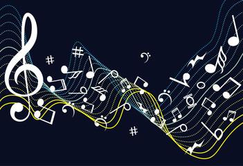 Notenschlüssel Noten Musik. Abstract musical background with notes. Music design.