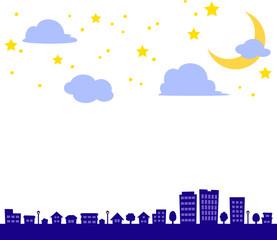 夜空と消灯した街のイラスト
