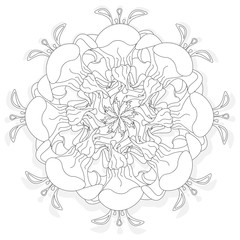 Fantasy flower illustration set on white