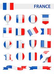France Flag Vector Set