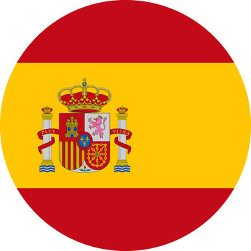Spain Flag Vector Round Flat Icon