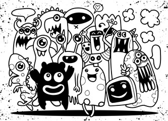 Cute Monster Set, Hand drawing cute doodle monster group,Flat De