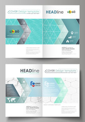 Business templates for bi fold brochure, flyer, booklet, report. Cover design template, vector layout in A4 size. Chemistry pattern, hexagonal molecule structure on blue. Medicine, technology concept.